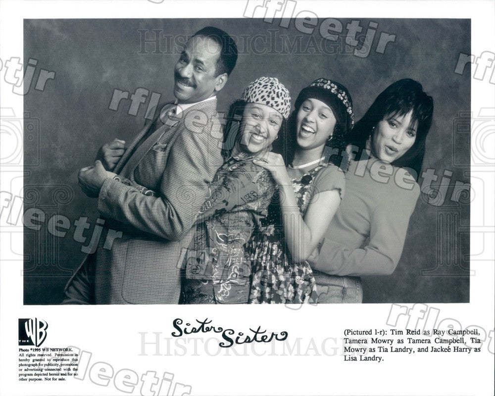 1995 Actors Tim Reid, Jackee Harry, Tia & Tamera Mowry on TV Press Photo adu355 - Historic Images