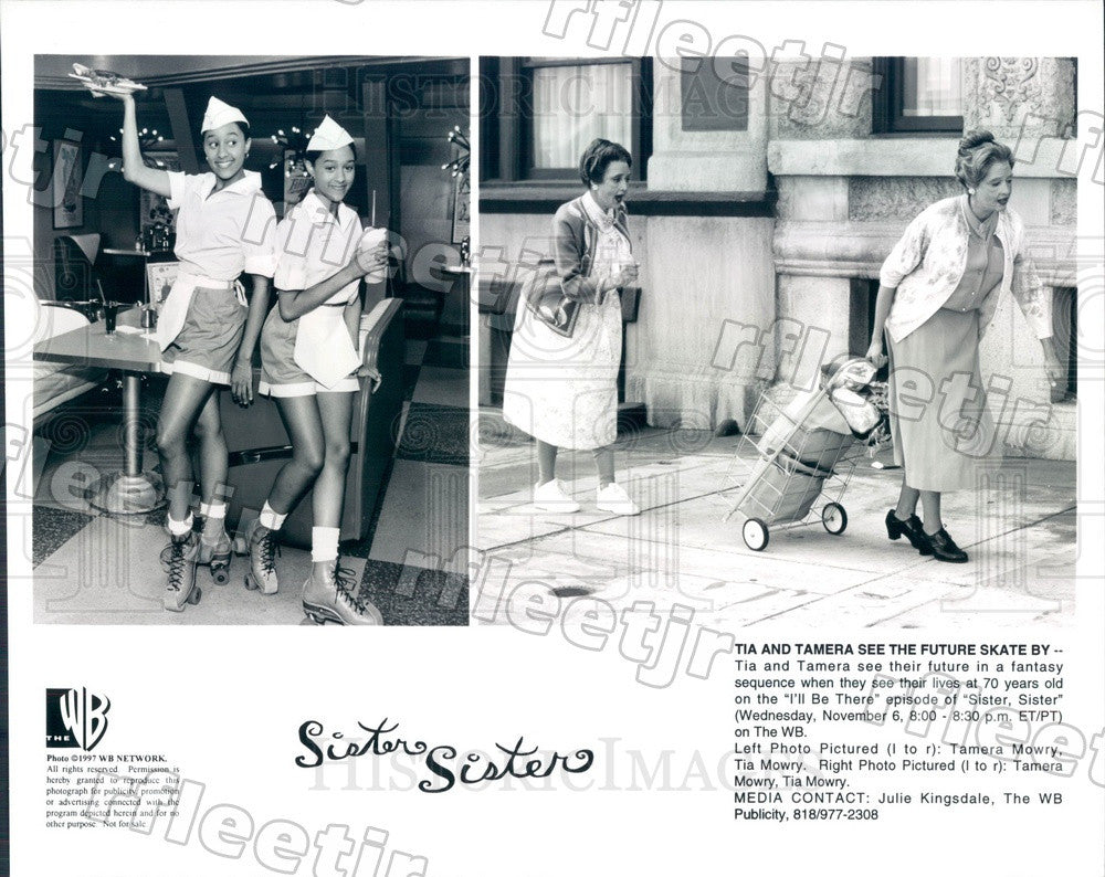 1997 Actresses Tia & Tamera Mowry on TV Show Sister, Sister Press Photo adu359 - Historic Images
