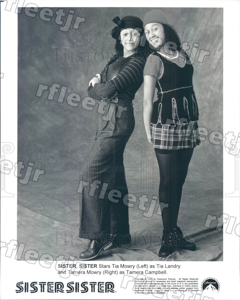 1994 Actresses Tia & Tamera Mowry on TV Show Sister, Sister Press Photo adu363 - Historic Images