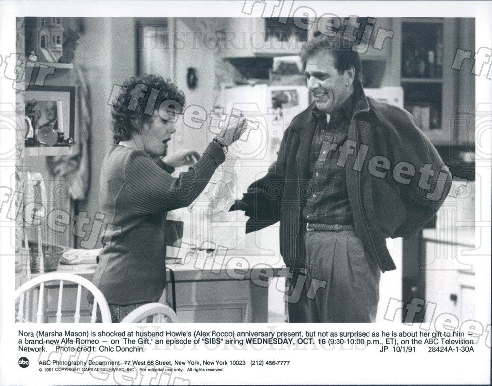 1991 Actors Marsha Mason & Alex Rocco on TV Show Sibs Press Photo adu417 - Historic Images