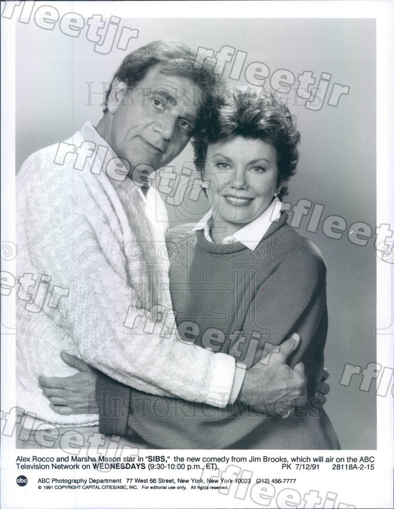 1991 Actors Marsha Mason & Alex Rocco on TV Show Sibs Press Photo adu419 - Historic Images