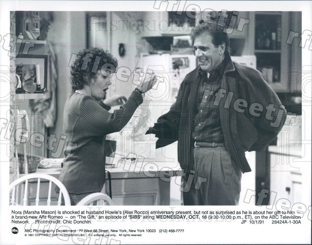 1991 Actors Marsha Mason & Alex Rocco on TV Show Sibs Press Photo adu427 - Historic Images