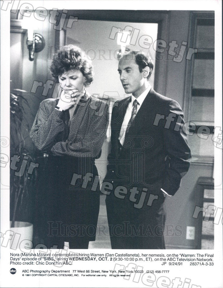 1991 Actors Dan Castellaneta & Marsha Mason Press Photo adu429 - Historic Images
