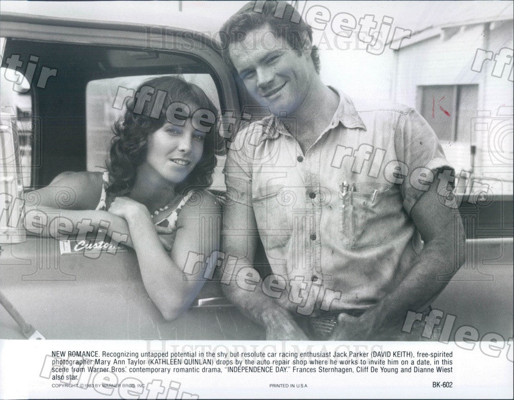 1983 Actors Kathleen Quinlan, David Keith in Independence Day Press Photo adu455 - Historic Images