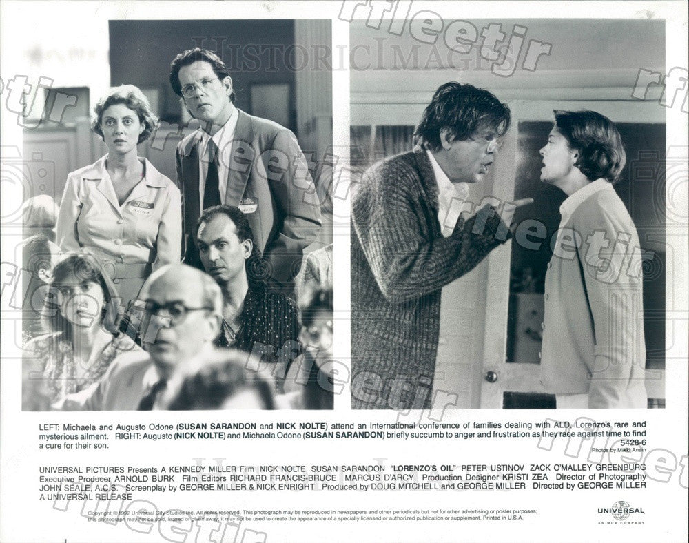 1992 Oscar Winning Actor Susan Sarandon & Nick Nolte Press Photo adu93 - Historic Images