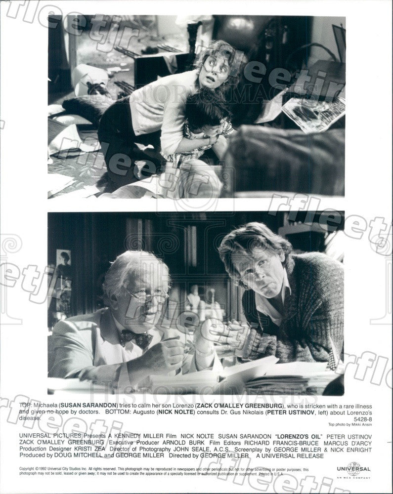 1992 Actors Susan Sarandon, Nick Nolte, Peter Ustinov Press Photo adu97 - Historic Images