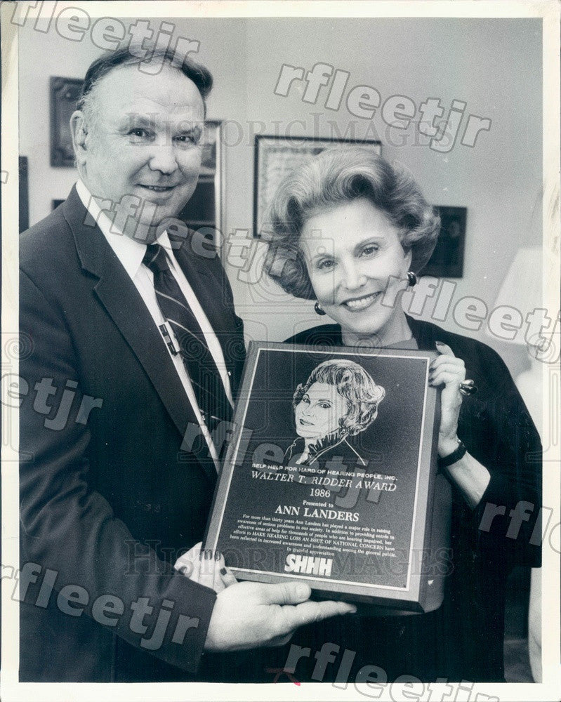 1986 Advice Columnist Ann Landers & Howard Stone Press Photo adv173 - Historic Images