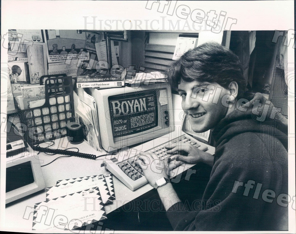 1988 Univ of Chicago Student, Software Creator Justin Boyan Press Photo adv321 - Historic Images