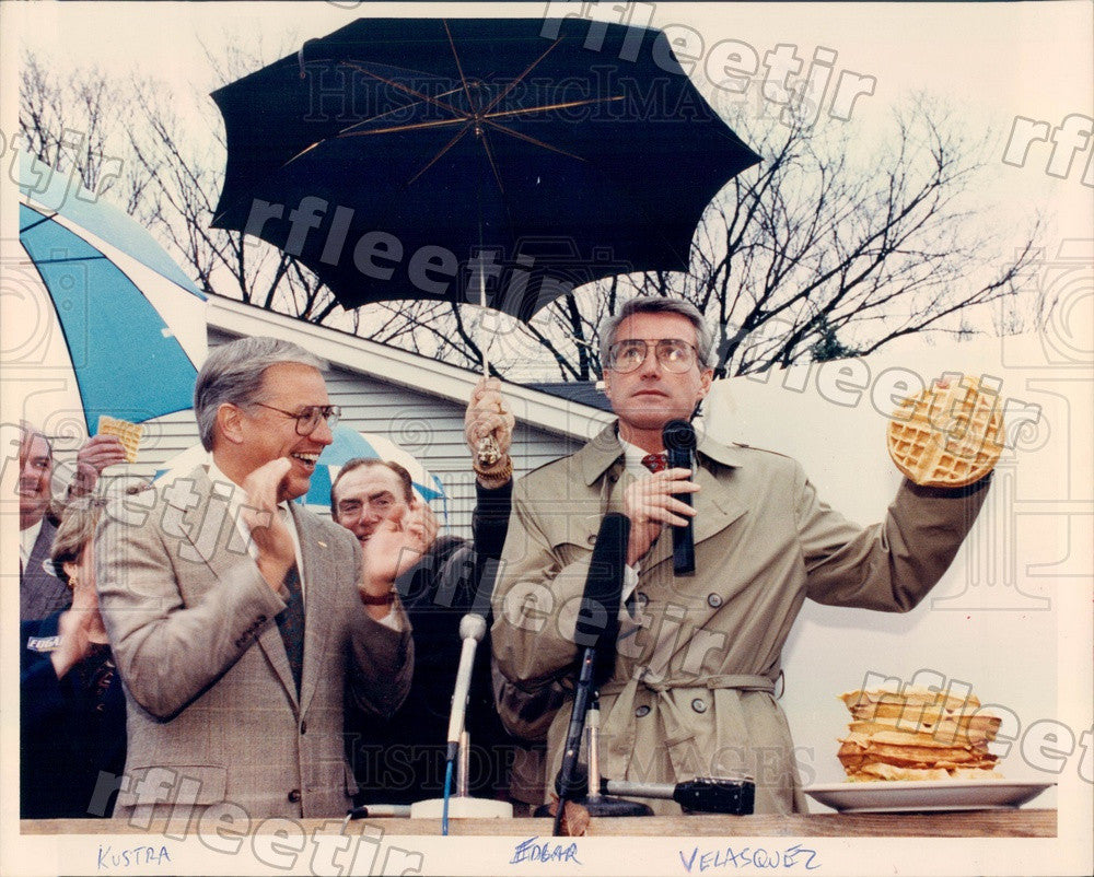 1990 IL Gubernatorial Candidates Jim Edgar & Bob Kustra Press Photo adv375 - Historic Images