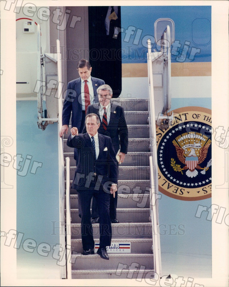 1990 US President George Bush & IL Sec of State Jim Edgar Press Photo adv377 - Historic Images