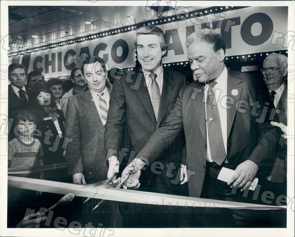 1984 IL Sec of State Jim Edgar & Chicago Mayor Washington Press Photo adv383 - Historic Images