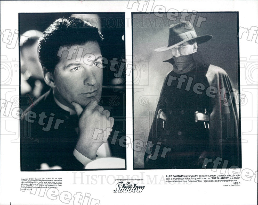 1994 Emmy Winning Actor Alec Baldwin in Film The Shadow Press Photo adv443 - Historic Images