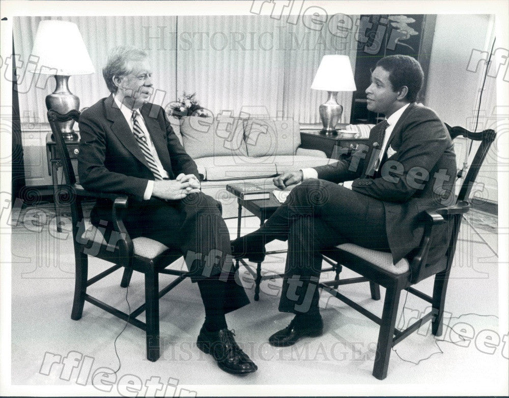 1986 NBC Today Show Host Bryant Gumbel & Pres Jimmy Carter Press Photo adw1053 - Historic Images