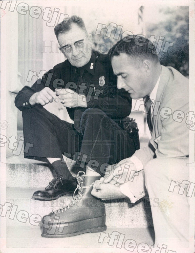 1958 Dunedin, FL Police Chief Gene Sheets, Sheriff Don Genung Press Photo adw123 - Historic Images