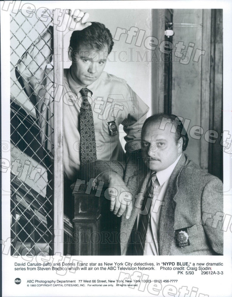 1993 Actors Dennis Franz & David Caruso on TV Show NYPD Blue Press Photo adw213 - Historic Images