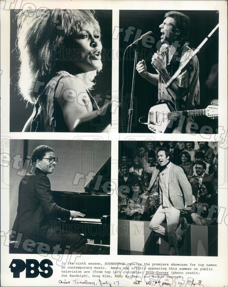 1984 Musicians Tina Turner, Greg Kihn, Andy Kaufman Press Photo adw387 - Historic Images
