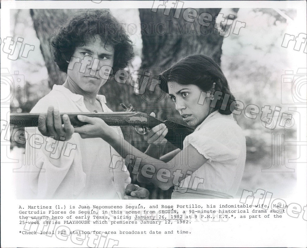 1982 Actors A Martinez & Rose Portillo in Seguin on PBS Press Photo adw411 - Historic Images