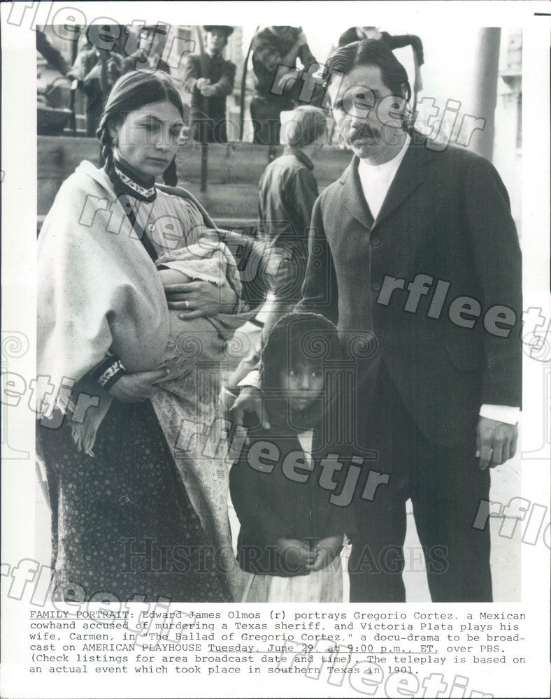 1982 Actors Edward James Olmos & Victoria Plata Press Photo adw417 - Historic Images