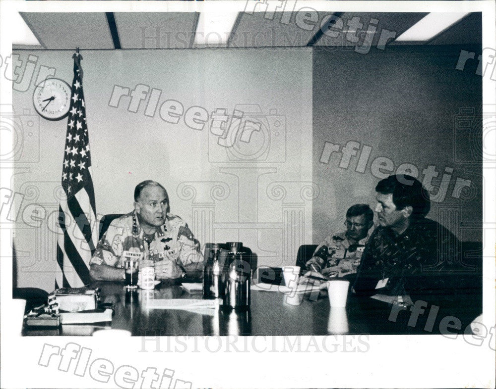 1990 US Army General Norman Schwarzkopf, US Central Command Press Photo adw497 - Historic Images