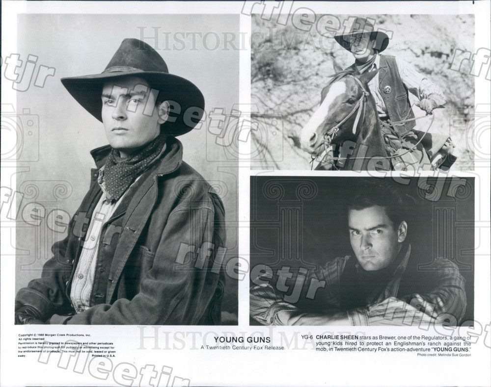 1988 Actor Charlie Sheen in Film Young Guns Press Photo adw601 - Historic Images