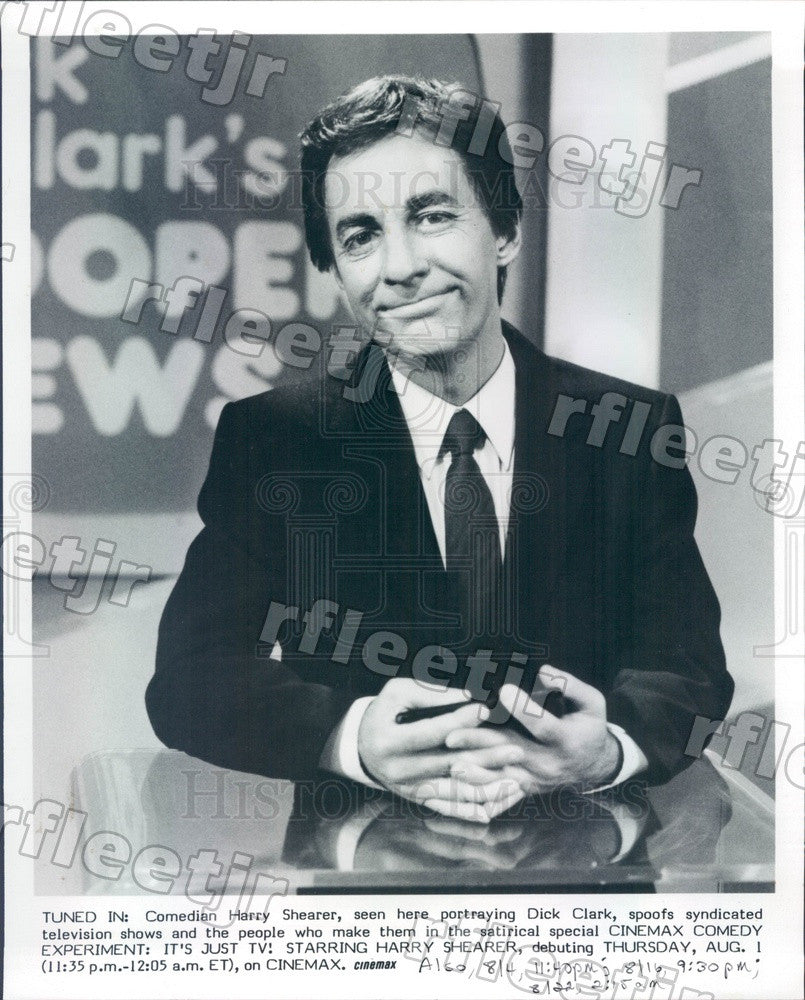 1985 Comedian Harry Shearer as Dick Clark on Cinemax Comedy Press Photo adw643 - Historic Images