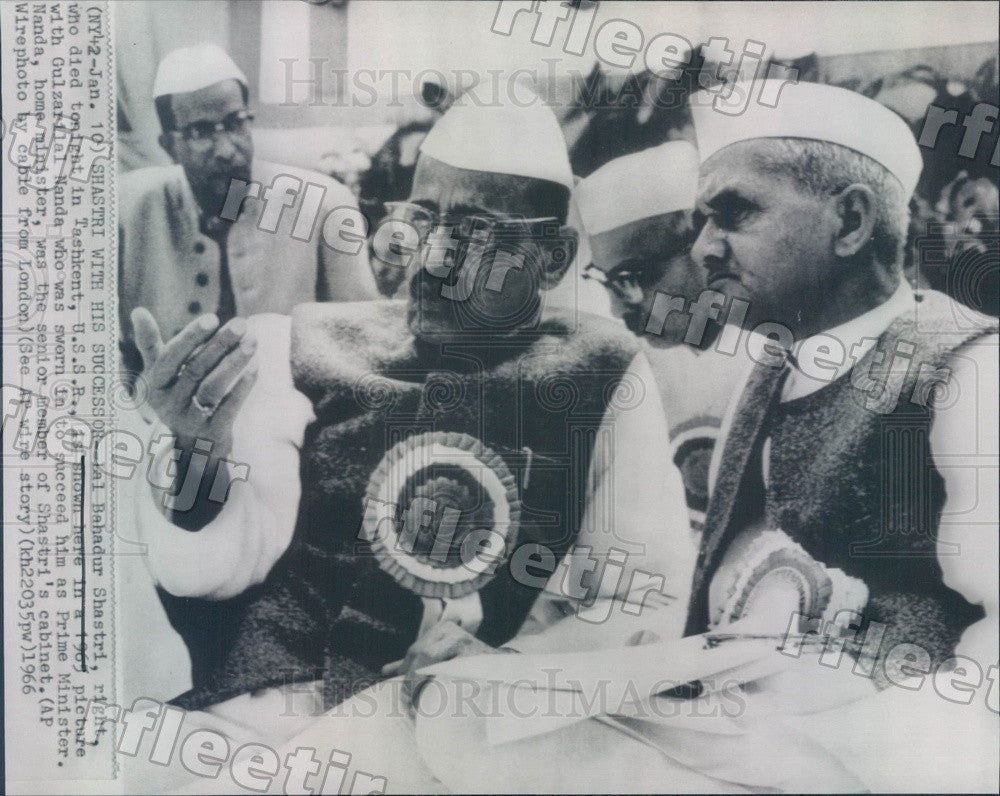 1966 India Prime Ministers Lal Bahadur Shastri & Nanda Press Photo adw695 - Historic Images