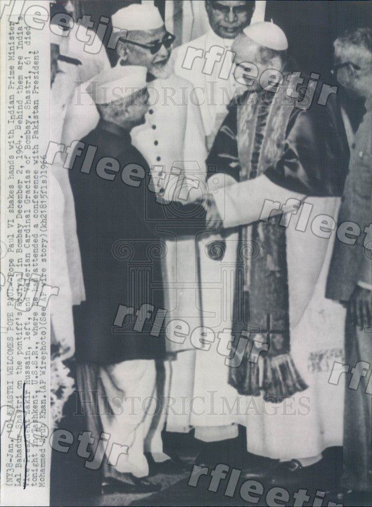 1966 Pope Paul VI, India Prime Minister Lal Bahadur Shastri Press Photo adw697 - Historic Images