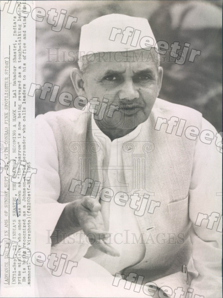 1965 India Prime Minister Lal Bahadur Shastri Press Photo adw709 - Historic Images