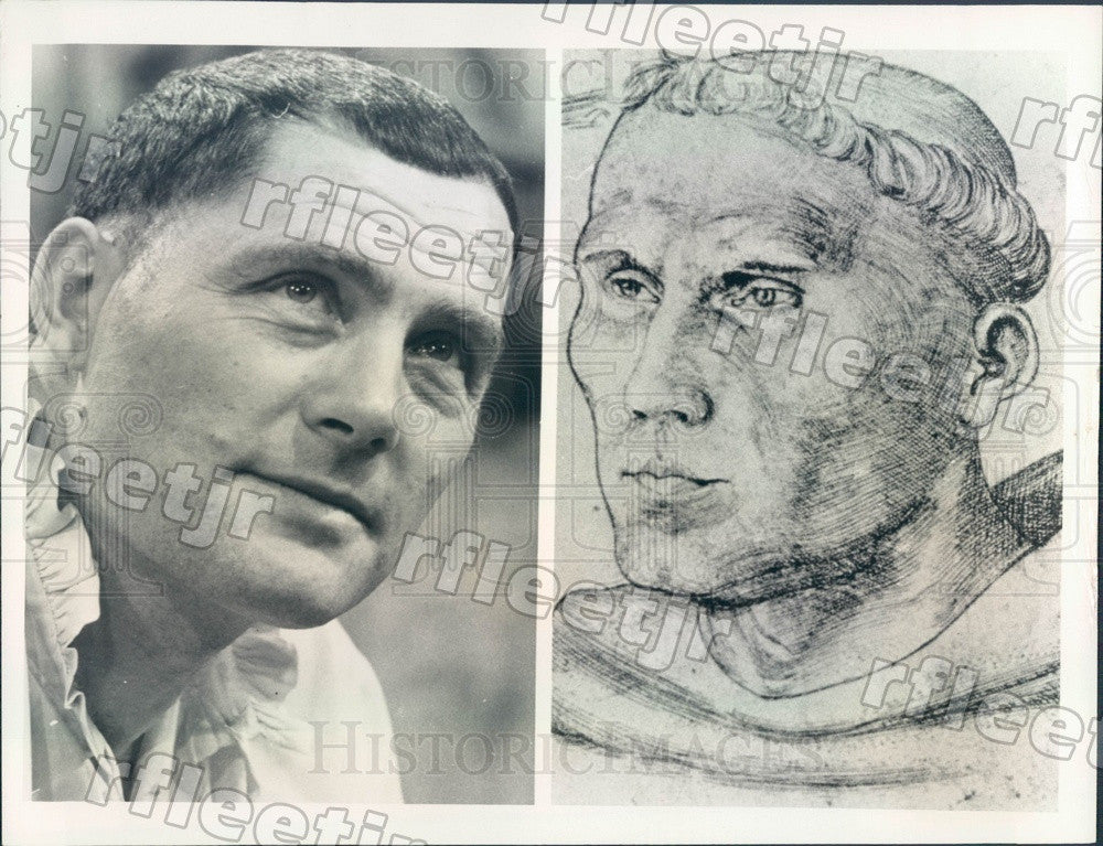 Undated Actor Robert Shaw & Martin Luther Sketch Press Photo adw743 - Historic Images