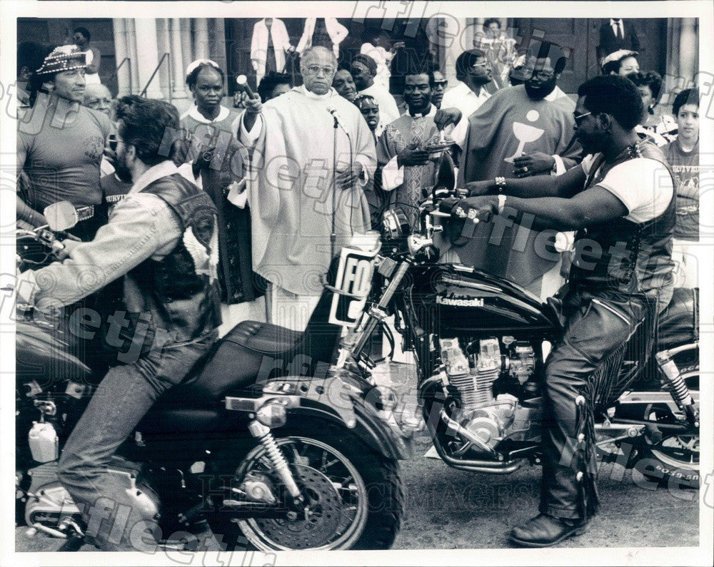 1986 Chicago, Illinois Rev George Clements & Motorcyclists Press Photo adw823 - Historic Images