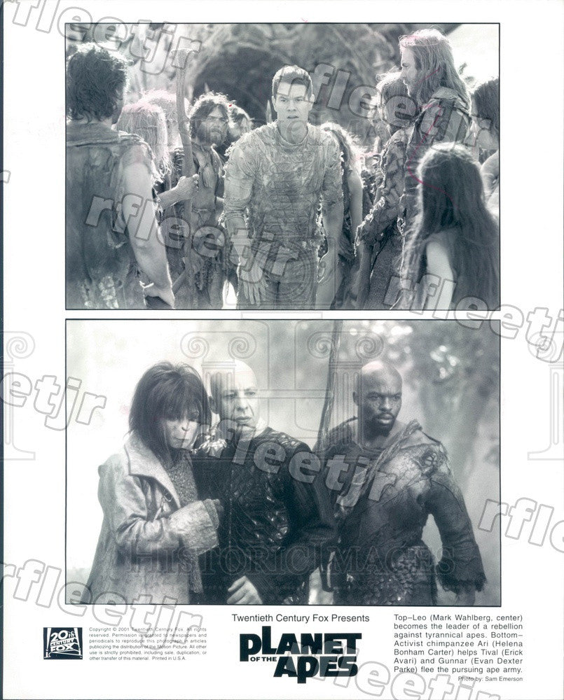 2001 Actors Mark Wahlberg, Helena Bonham Carter, Erick Avari Press Photo adx1083 - Historic Images