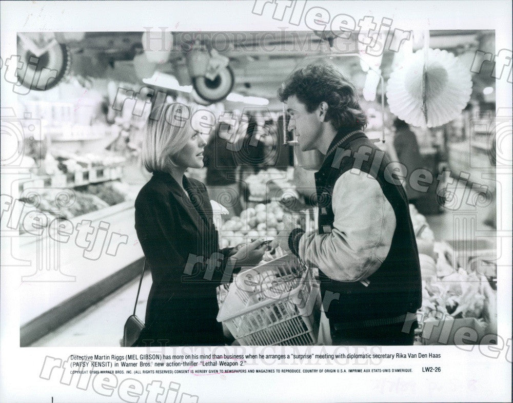 1989 Oscar Winning Actor Mel Gibson & Patsy Kensit in Film Press Photo adx1097 - Historic Images