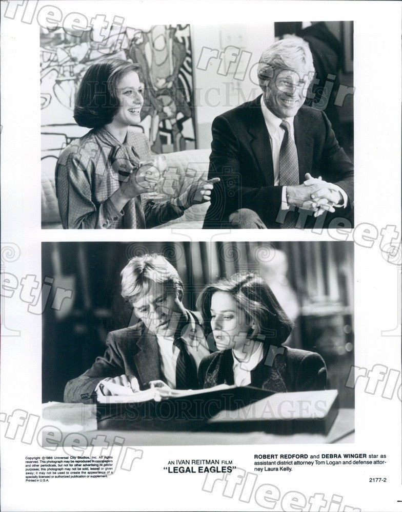 1986 Actors Robert Redford & Debra Winger in Legal Eagles Press Photo adx1159 - Historic Images