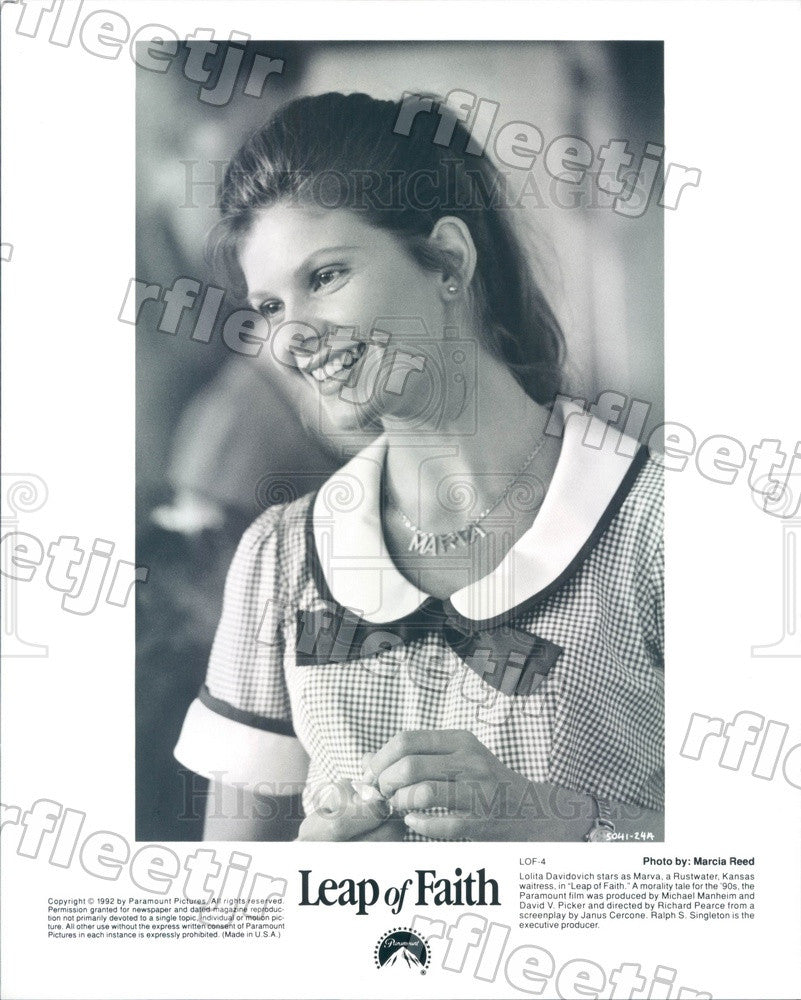 1992 Canadian Actor Lolita Davidovich in Film Leap of Faith Press Photo adx1185 - Historic Images