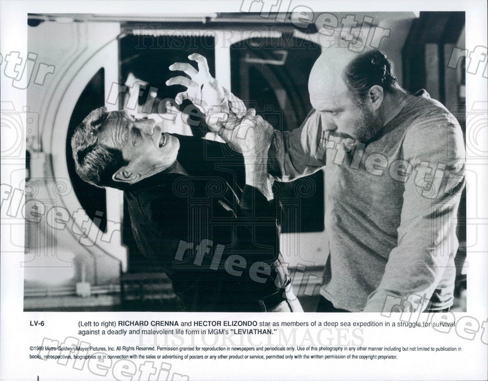 1989 Actors Richard Crenna, Hector Elizondo in Film Leviathan Press Photo adx127 - Historic Images