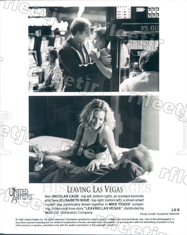 1995 Oscar Winning Actor Nicolas Cage & Elisabeth Shue Press Photo adx207 - Historic Images