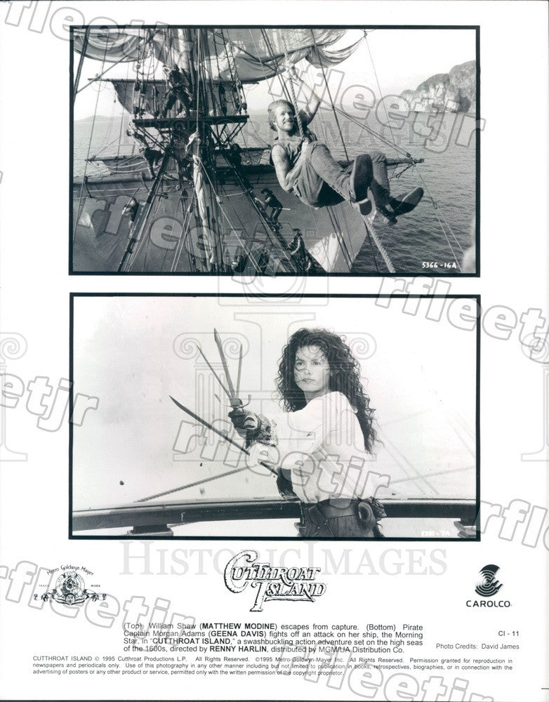 1995 Actors Matthew Modine & Oscar Winner Geena Davis in Film Press Photo adx235 - Historic Images