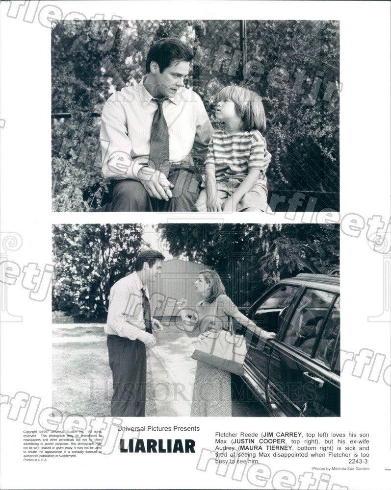 1997 Actors Jim Carrey, Maura Tierney, Justin Cooper in Film Press Photo adx287 - Historic Images