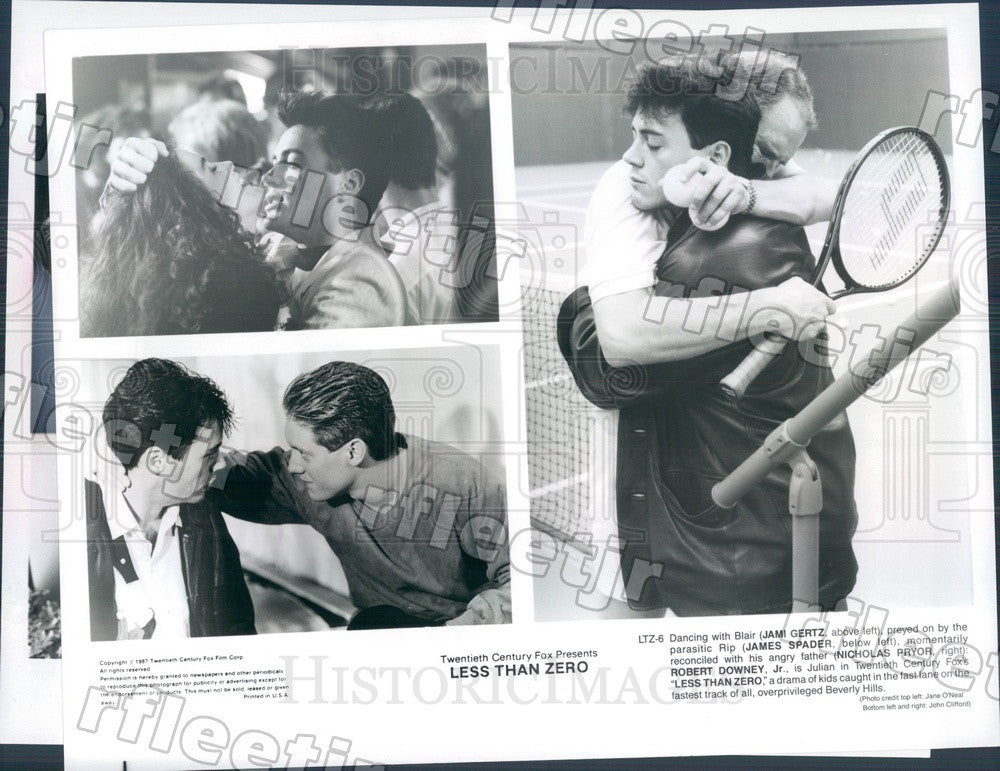 1987 Actors Jami Gertz, James Spader, Robert Downey Jr Press Photo adx291 - Historic Images