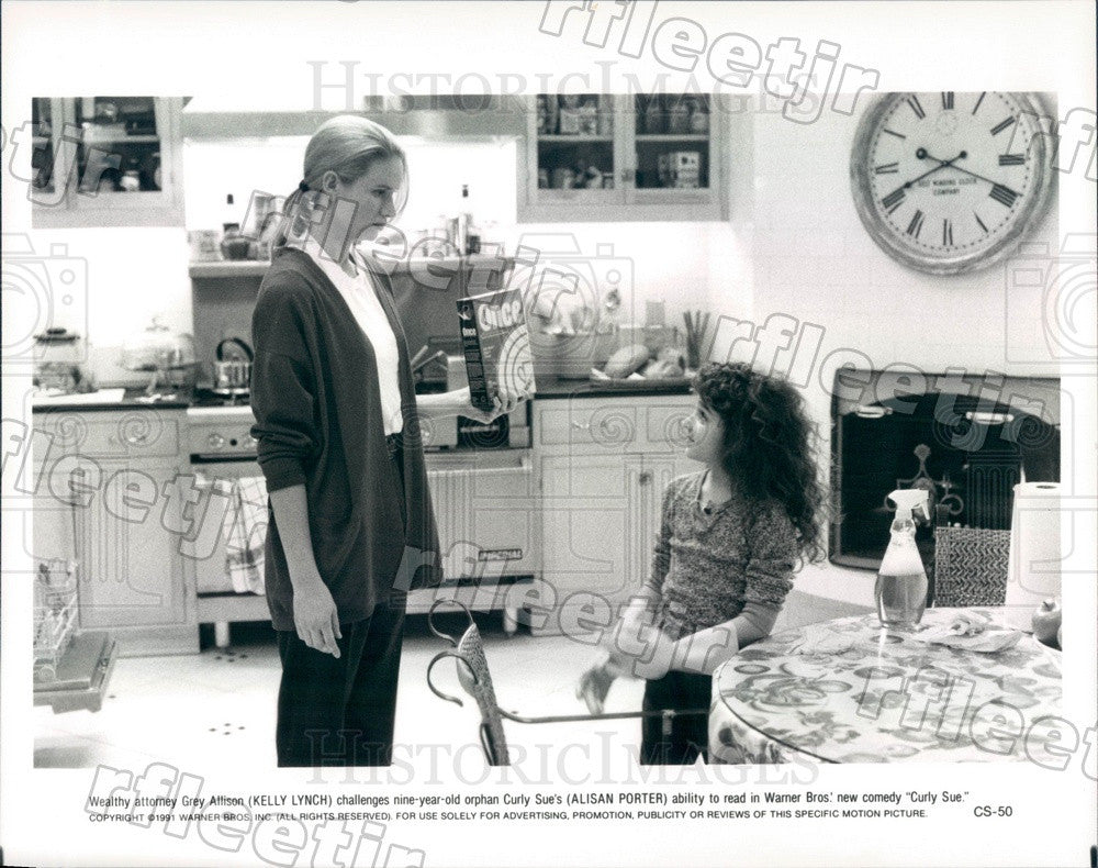 1991 Actresses Kelly Lynch & Alisan Porter in Film Curly Sue Press Photo adx351 - Historic Images