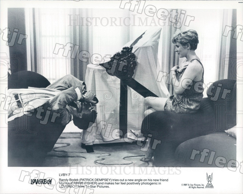 1989 Actors Patrick Dempsey & Carrie Fischer in Film Loverboy Press Photo adx55 - Historic Images