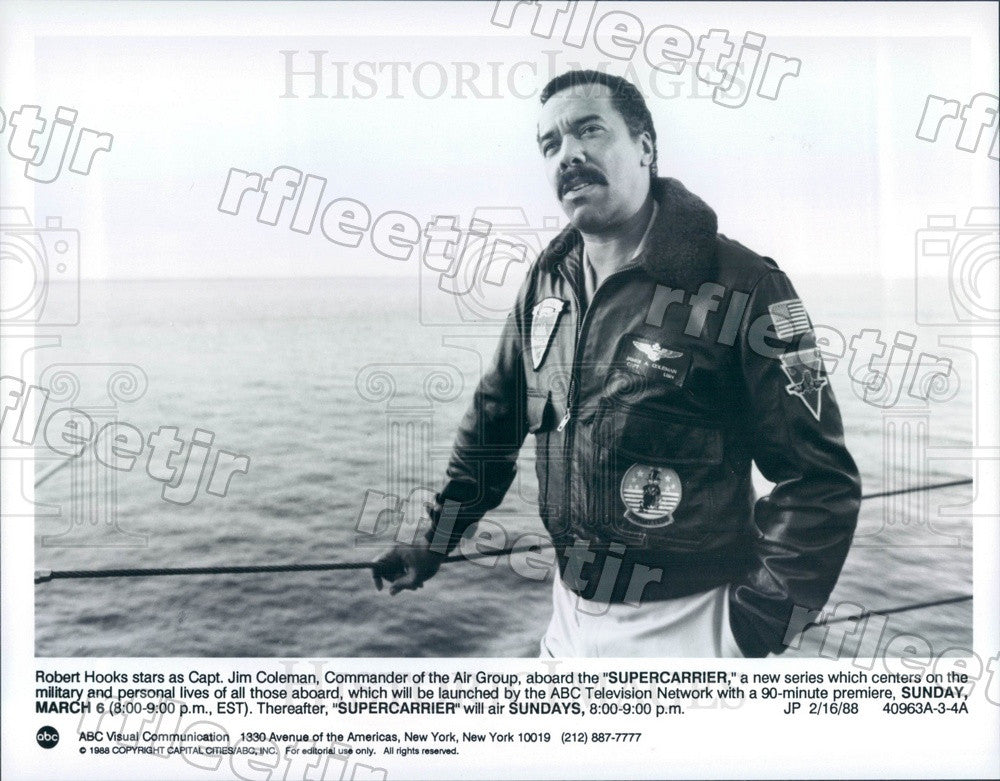 1988 American Actor Robert Hooks on TV Show Supercarrier Press Photo adx587 - Historic Images