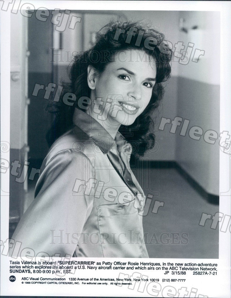 1988 American Actress Tasia Valenza on TV Show Supercarrier Press Photo adx589 - Historic Images