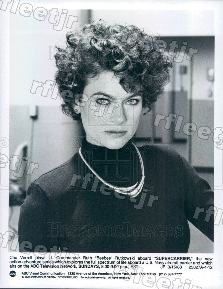 1988 American Actress Cec Verrell on TV Show Supercarrier Press Photo adx591 - Historic Images