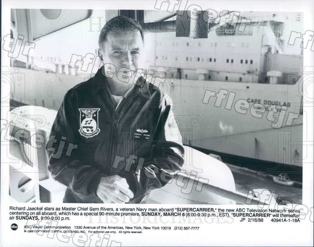 1988 American Actor Richard Jaeckel on TV Show Supercarrier Press Photo adx603 - Historic Images