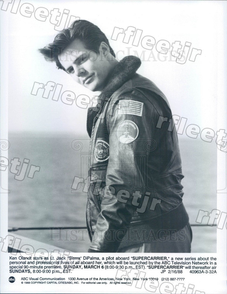 1988 American Actor Ken Olandt on TV Show Supercarrier Press Photo adx605 - Historic Images