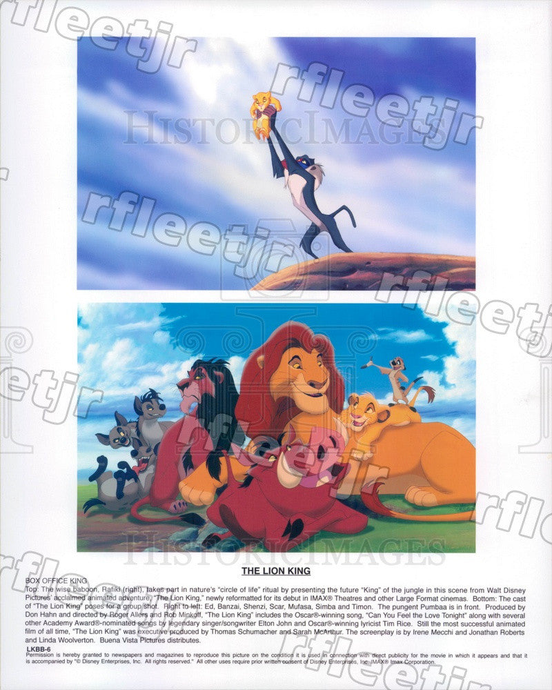 Undated Walt Disney Characters in Film The Lion King, Simba Press Photo adx635 - Historic Images