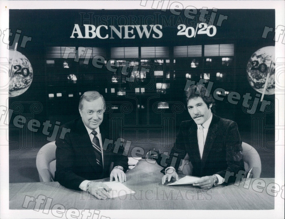 Undated TV Journalists Hugh Downs & Geraldo Rivera on 20/20 Press Photo adx655 - Historic Images