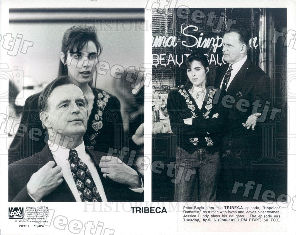 1993 Emmy Winning Actor Peter Boyle, Jessica Lundy on Tribeca Press Photo adx725 - Historic Images