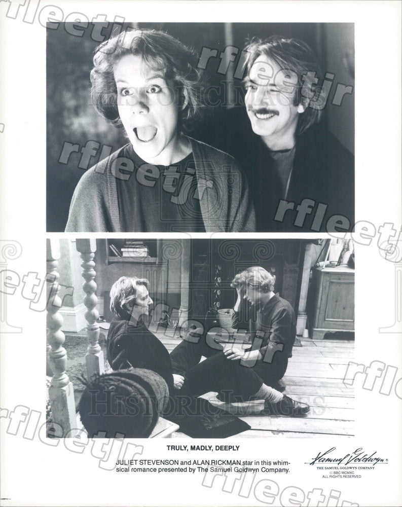 1990 British Actor Juliet Stevenson, Emmy Winner Alan Rickman Press Photo adx749 - Historic Images